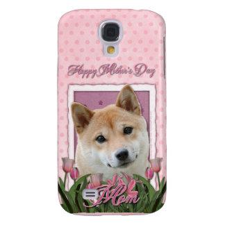 Día de madres - tulipanes rosados - Shiba Inu Funda Para Galaxy S4