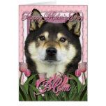 Día de madres - tulipanes rosados - Shiba Inu - Tarjeta De Felicitación