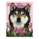 Día de madres - tulipanes rosados - Shiba Inu - Postal