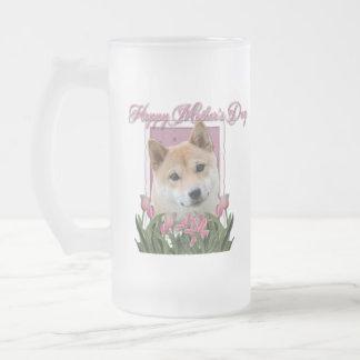 Día de madres - tulipanes rosados - Shiba Inu Taza De Cristal