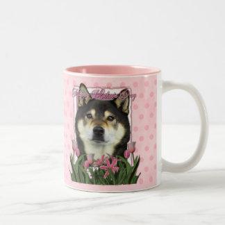 Día de madres - tulipanes rosados - Shiba Inu - Ya Tazas
