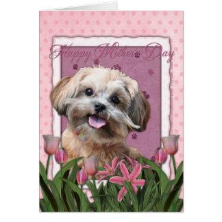 Día de madres - tulipanes rosados - ShihPoo - Tarjeta De Felicitación