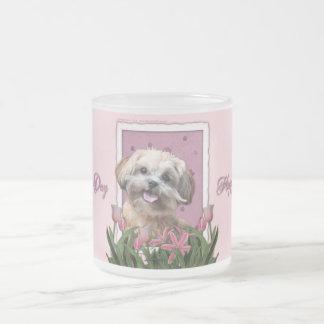 Día de madres - tulipanes rosados - ShihPoo - Taza De Cristal
