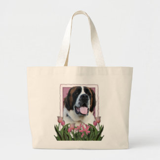 Día de madres - tulipanes rosados - St Bernard - Bolsa Tela Grande