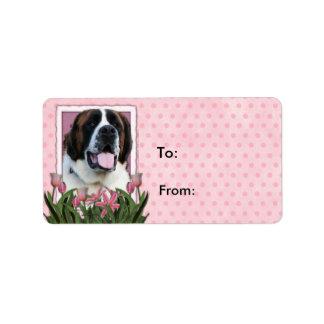 Día de madres - tulipanes rosados - St Bernard - Etiquetas De Dirección