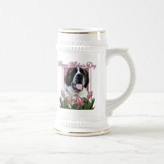 Día de madres - tulipanes rosados - St Bernard - Jarra De Cerveza