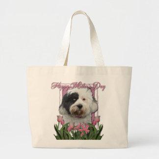 Día de madres - tulipanes rosados - Terrier Bolsa Tela Grande