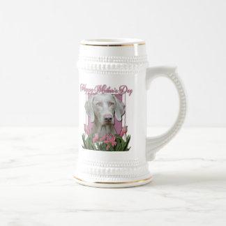Día de madres - tulipanes rosados - Weimaraner - Jarra De Cerveza