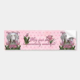 Día de madres - tulipanes rosados - Weimaraner - o Etiqueta De Parachoque
