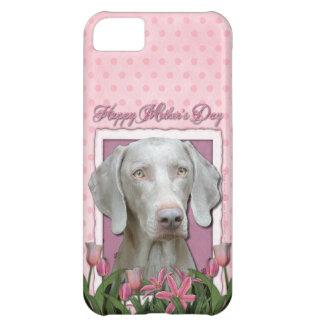 Día de madres - tulipanes rosados - Weimaraner - o
