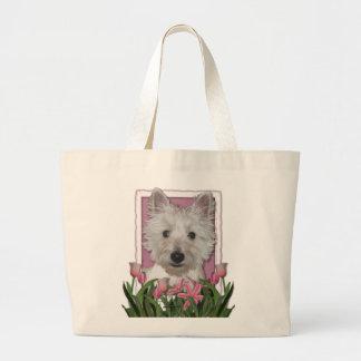 Día de madres - tulipanes rosados - Westie Bolsa Tela Grande
