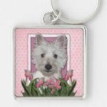 Día de madres - tulipanes rosados - Westie Llavero Personalizado