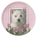 Día de madres - tulipanes rosados - Westie Plato De Cena