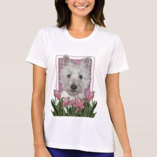 Día de madres - tulipanes rosados - Westie T-shirts