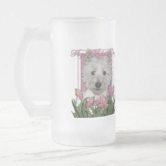 Día de madres - tulipanes rosados - Westie Taza De Cristal