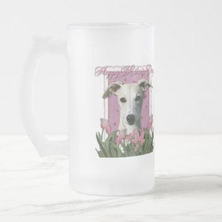Día de madres - tulipanes rosados - Whippet Taza De Cristal