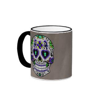 Día de moda retro del cráneo muerto del azúcar taza de dos colores