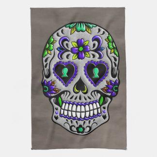 Día de moda retro del cráneo muerto del azúcar toalla