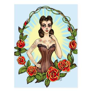 Día de Muertos Day de la señora muerta del tatto Tarjetas Postales