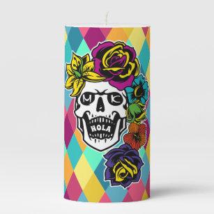 Sugar Skull Day of the Dead Candle Holder Candy Skulls Design