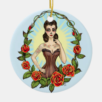 Día de Muertos Day of the Dead vintage tatto lady Double-Sided Ceramic Round Christmas Ornament