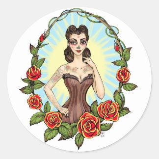 Día de Muertos Day of the Dead vintage tatto lady Round Stickers