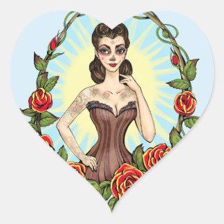 Día de Muertos Day of the Dead vintage tatto lady Sticker