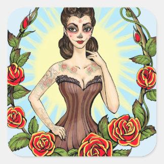 Día de Muertos Day of the Dead vintage tatto lady Stickers