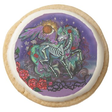 Halloween Themed Día de Muertos Horse Round Shortbread Cookie