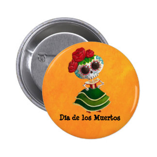 Dia de Muertos Mexican Miss Death 2 Inch Round Button