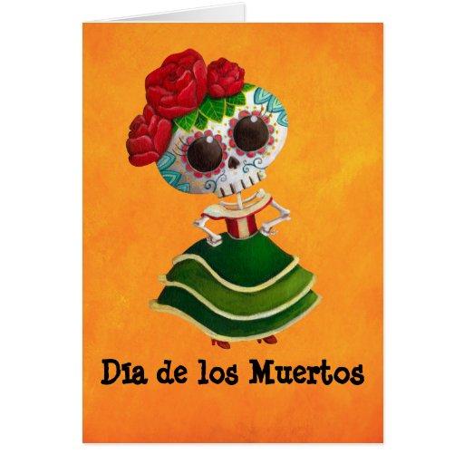 Dia de Muertos Mexican Miss Death Greeting Card