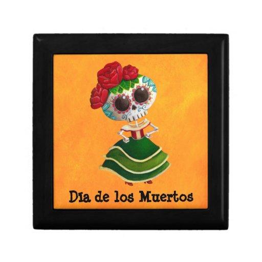 Dia de Muertos Mexican Miss Death Jewelry Boxes