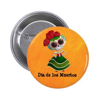 Dia de Muertos Mexican Miss Death Pinback Button