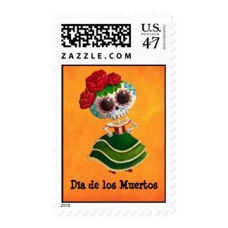 Dia de Muertos Mexican Miss Death Postage Stamp