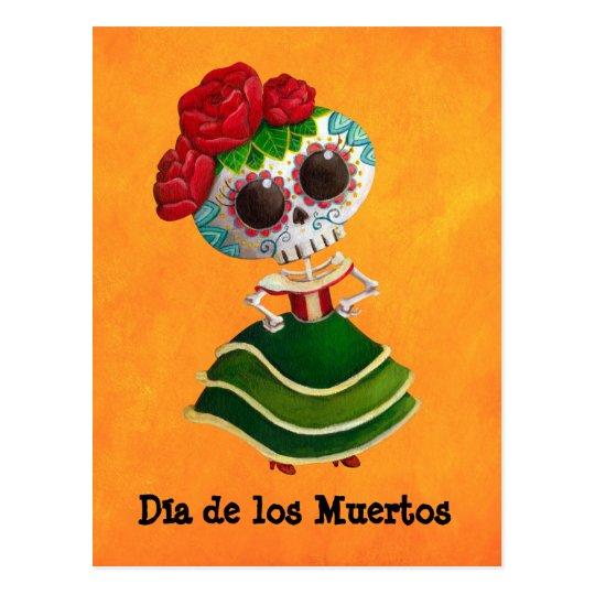 Dia de Muertos Mexican Miss Death Postcard