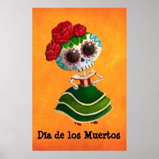 Dia de Muertos Mexican Miss Death Poster