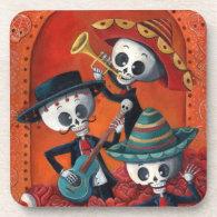 Dia de Muertos Musical Skeleton Band Drink Coaster