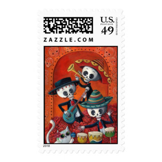 Dia de Muertos Musical Skeleton Band Stamp