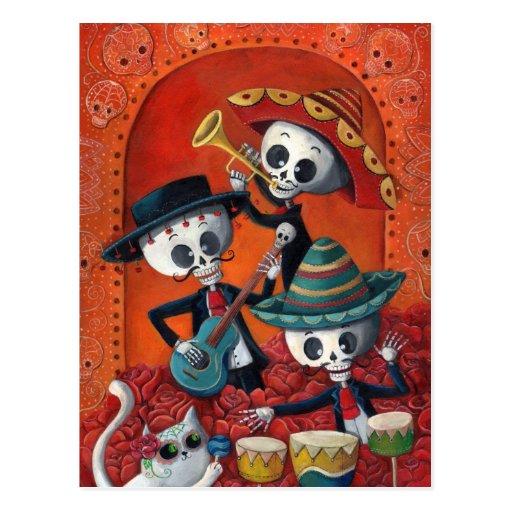 Dia de Muertos Musical Skeleton Band Postcard