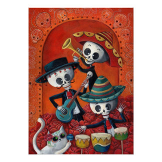 Dia de Muertos Musical Skeleton Band Print