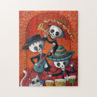 Dia de Muertos Musical Skeleton Band Jigsaw Puzzle