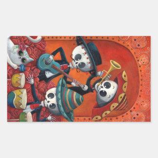 Dia de Muertos Musical Skeleton Band Rectangular Sticker