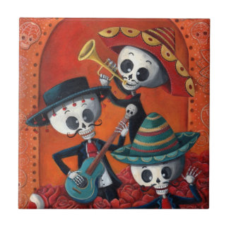 Dia de Muertos Musical Skeleton Band Tiles