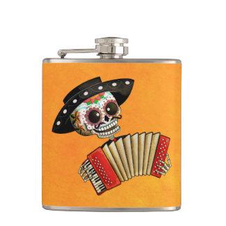 Dia de Muertos Skeleton Musician Hip Flasks