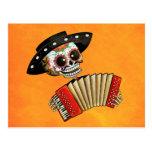 Dia de Muertos Skeleton Musician Postcard