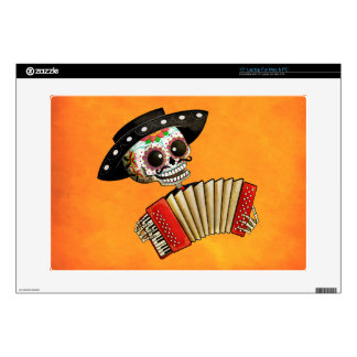 "Dia de Muertos Skeleton Musician 15"" Laptop Decal"