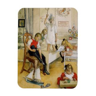 Día de navidad en el cuarto de niños 1894 imanes rectangulares