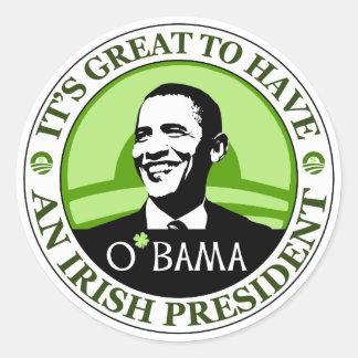 Día de Obama St Patrick Pegatina Redonda