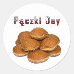 Día de Paczki Pegatina Redonda