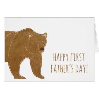 Día de padre feliz del oso de Brown el primer Tarjeta De Felicitación
